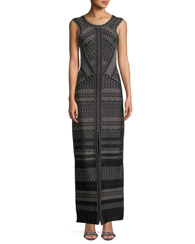 Round-Neck Sleeveless Jacquard Column Gown with Front Slit