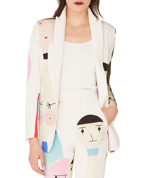 Akris Salvador No-Closure Doll-Print Silk Crepe Jacket and