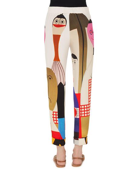 Chris Doll-Print High-Waist Cuffed Crepe Pants