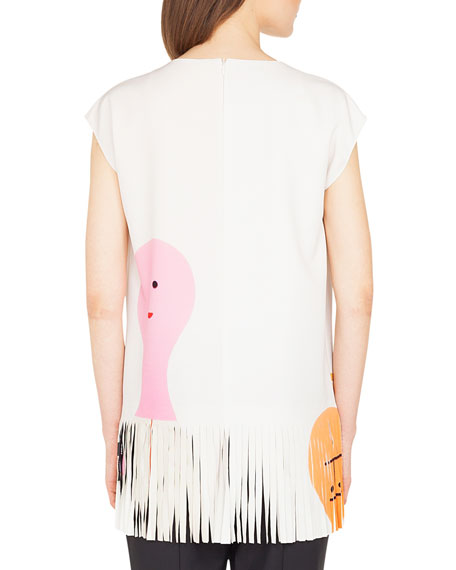 Cap-Sleeve Doll-Print Crepe Tunic w/ Fringe Hem