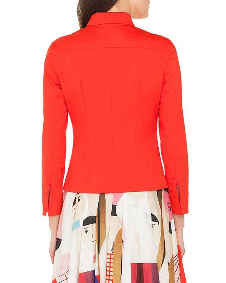 Long-Sleeve Zip-Front Stretch Cotton-Poplin Shirt