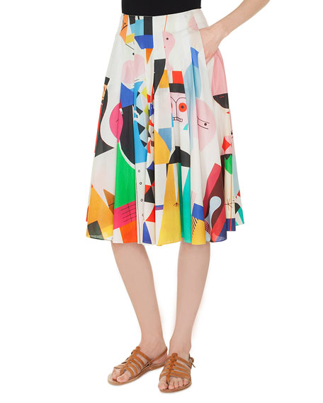 Wooden-Doll Print Pleated A-Line Cotton Voile Skirt