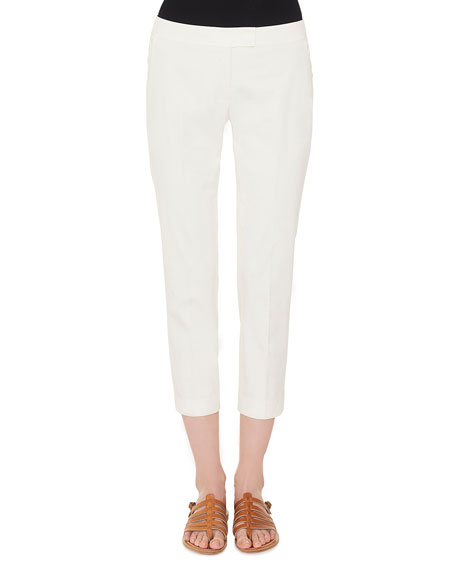 Akris Frances Skinny-Leg Cotton Gabardine Cropped Pants