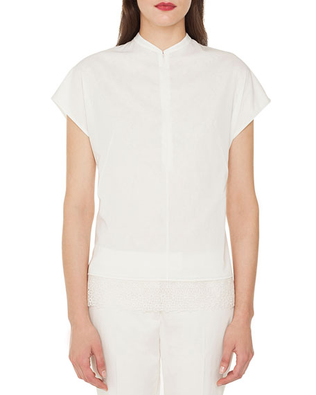Cap-Sleeve Zip-Front Cotton Voile Blouse w/ Back Pleat