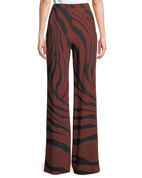 Wide-Leg Zebra-Jacquard Stretch-Crepe Pants