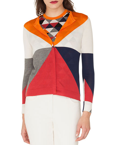 AKRIS Long-Sleeve Diamond-Jacquard Silk/Cashmere Cardigan in Multi