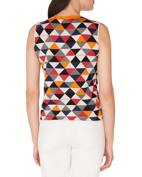 Sleeveless Diamond-Jacquard Cashmere-Silk Knit Tank