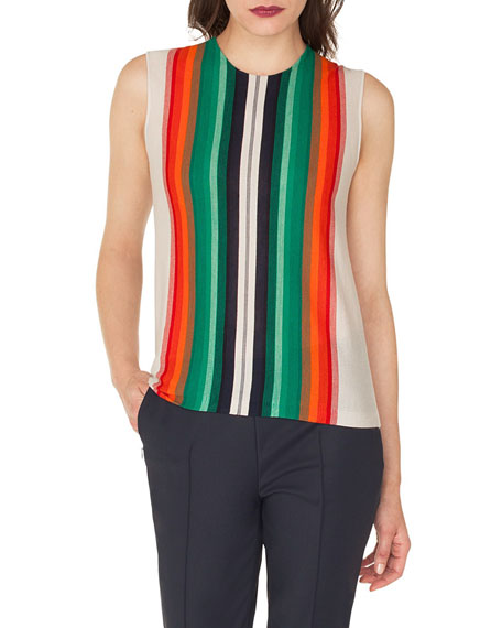 Sleeveless Crewneck Striped Cashmere-Silk Pullover Shell