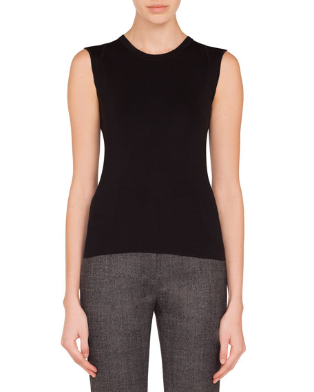 Round-Neck Silk-Stretch Knit Tank Top