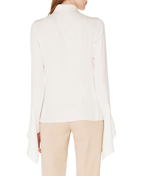 Long-Sleeve Button-Down Silk Crepe Blouse with Draped Cuffs