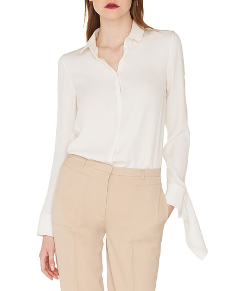 Akris Long-Sleeve Button-Down Silk Crepe Blouse with Draped