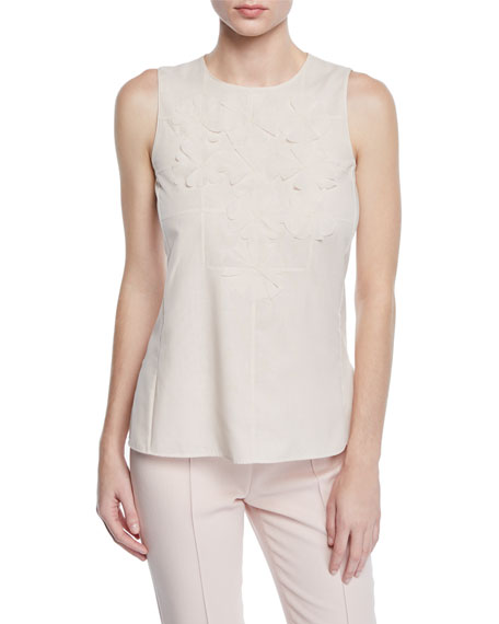 Sleeveless Round-Neck Floral-Embellished Cotton Voile Blouse