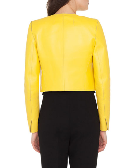 Sarita No-Closure Lamb Leather Cropped Bolero Jacket