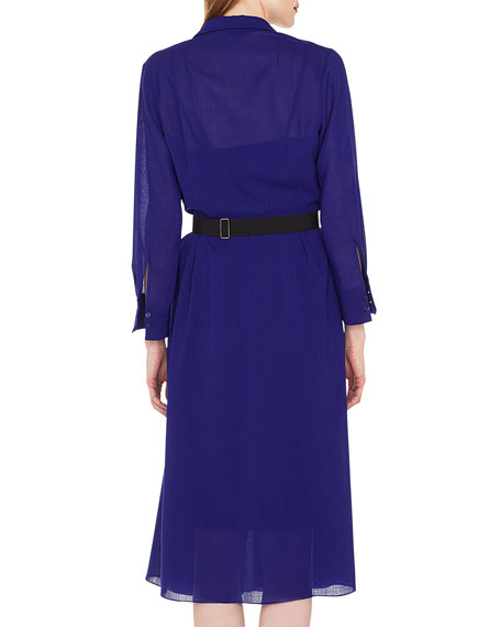 Bracelet-Sleeve Pleated-Skirt Wool Crepe Georgette Shirtdress with Belt