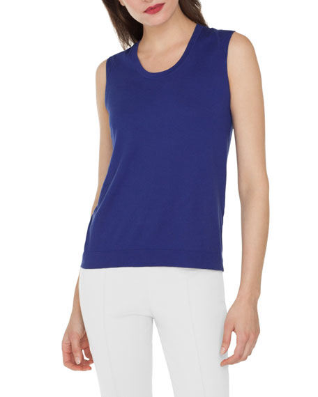 Scoop-Neck Knit Cotton Tank Top