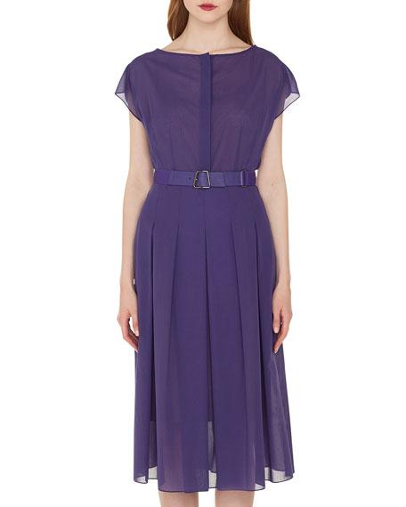 Cap-Sleeve Button-Placket Belted Cotton Voile Midi Dress