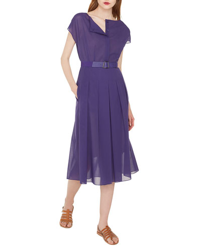 Cap-Sleeve Button-Placket Belted Cotton Voile Midi Dress