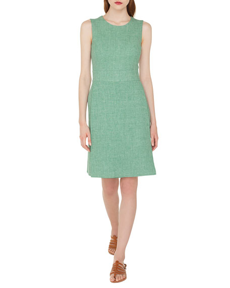 Sleeveless Round-Neck A-Line Double-Face Linen-Wool Dress