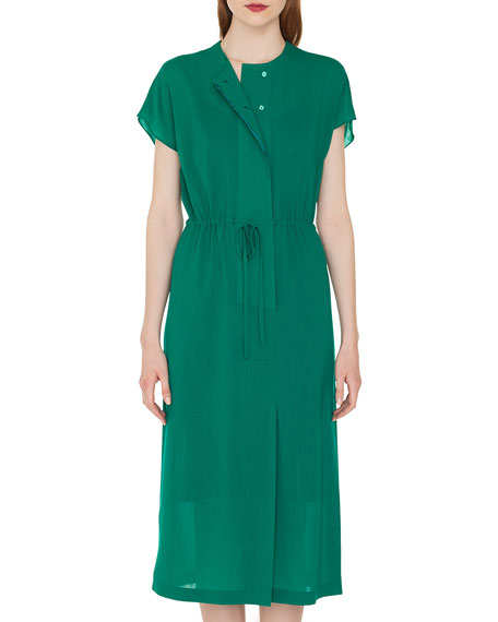 Cap-Sleeve Button-Down Drawstring-Waist Wool Crepe Georgette Dress