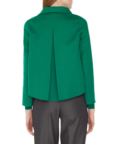 Rachel Button-Front Cashmere Jacket with Back Pleat