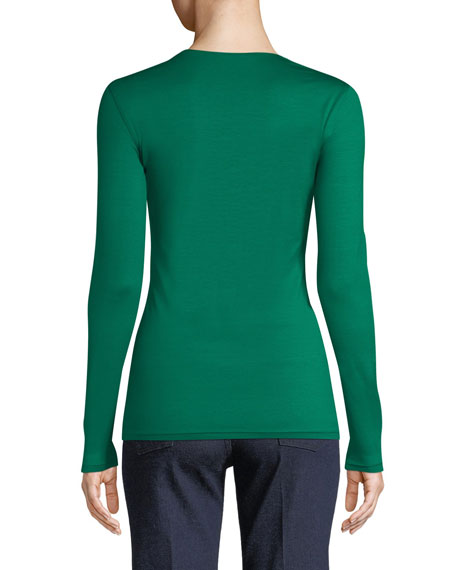 V-Neck Long-Sleeve Stretch-Jersey Top