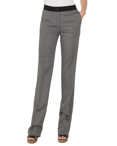 Carl Cashmere/Silk Straight-Leg Pants