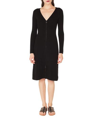 V-Neck Zip-Front Long-Sleeve Rib-Knit Dress