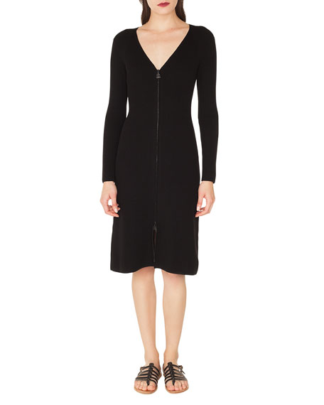 V-Neck Zip-Front Long-Sleeve Rib-Knit Dress