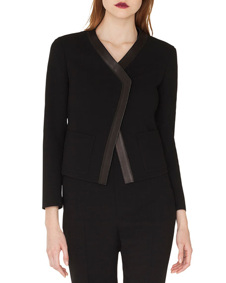 Akris Saphir Short Cardigan-Style Jacket with Leather Trim