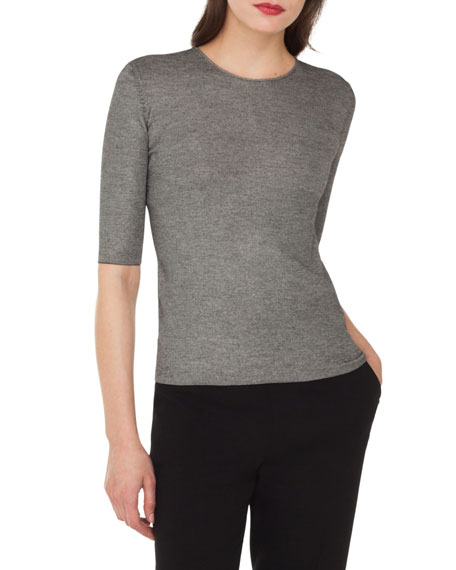 Akris Elbow-Sleeve Round-Neck Cashmere-Silk Top