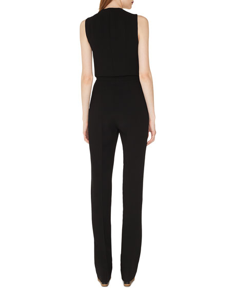 Sleeveless V-Neck Front-Zip Straight-Leg Jumpsuit