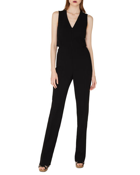Sleeveless V-Neck Front-Zip Straight-Leg Jumpsuit