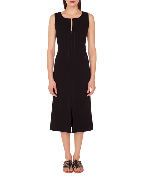 AKRIS Sleeveless Round-Neck A-Line Stretch-Wool Midi Dress With Topstitching in Black