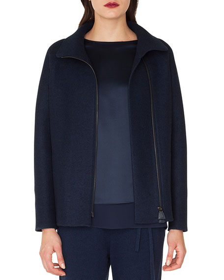 Ray Zip-Front Raglan-Sleeve Cashmere Jersey Jacket