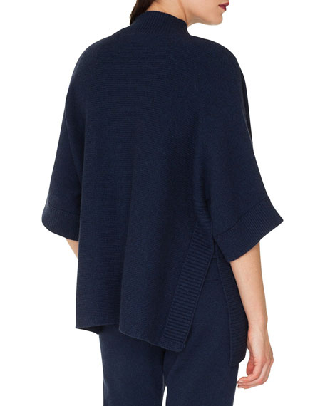 Zip-Front Elbow-Sleeve Cashmere Cardigan