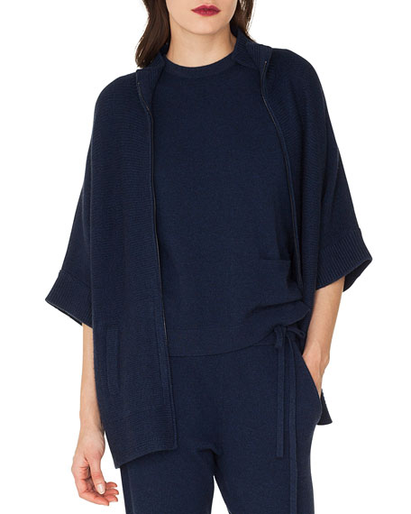 Akris Zip-Front Elbow-Sleeve Cashmere Cardigan