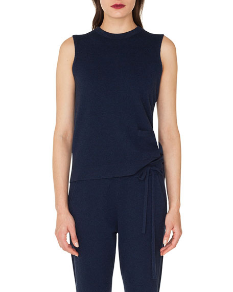 Sleeveless Crewneck Pullover Cashmere Shell with Patch Pocket