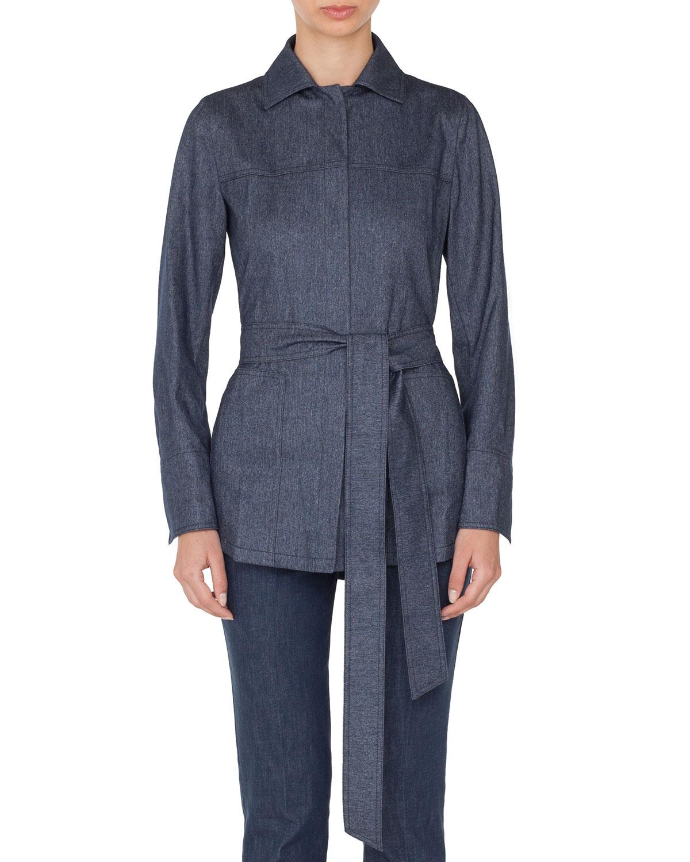 821d54d4eb AkrisSpread-Collar Button-Front Belted Cashmere-Cotton Flannel Shirt
