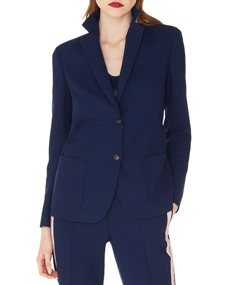 Satine Contrast Back-Collar Single-Breasted Wool Jacket
