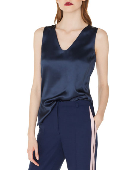 Sleeveless V-Neck Silk Satin Blouse with Side Slits