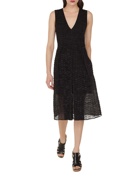 Akris Sleeveless A-Line Stripe Ribbon Organza Dress