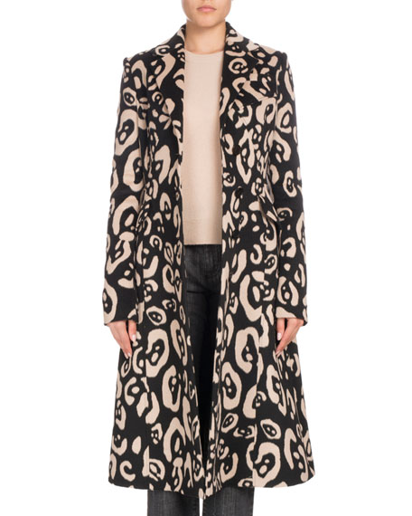Leopard-Print Button-Down Wool Coat, Black