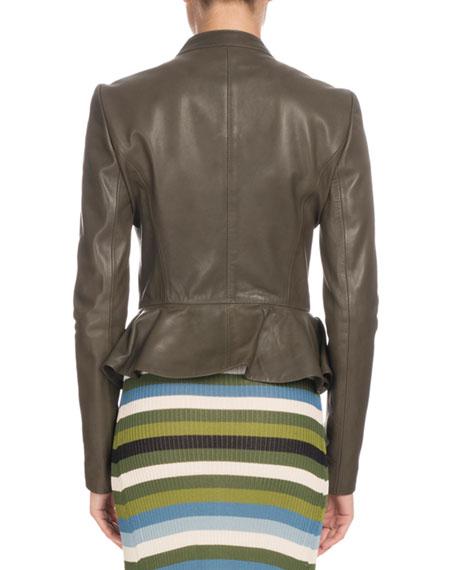 Zip-Front Peplum Calf Leather Jacket w/ Ruffled Frills