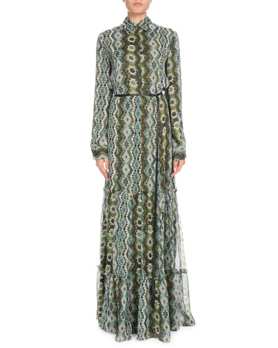 Long-Sleeve Printed Silk Creponne Maxi Dress