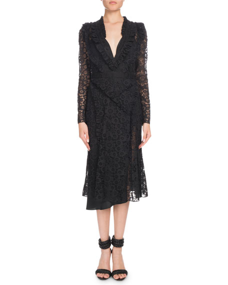 Altuzarra Valencienne V-Neck Long-Sleeve Midi Dress
