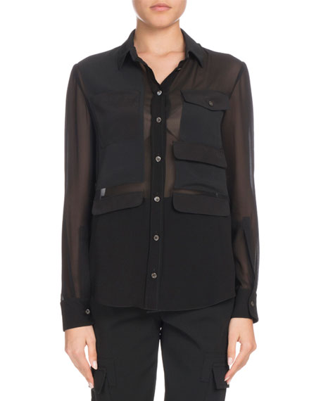Altuzarra Button-Down Long-Sleeve Silk Georgette Shirt