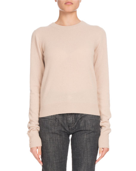 Crewneck Long-Sleeve Braided-Back Cashmere Sweater