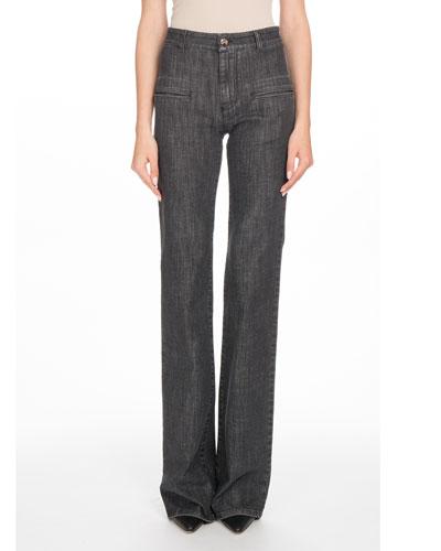 High-Waist Boot-Cut Stretch-Denim Jeans