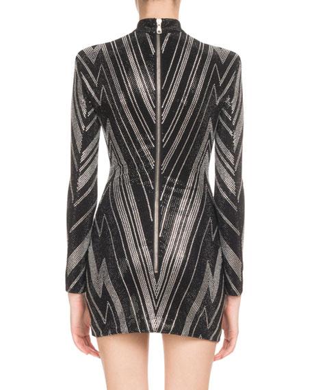 Mock-Neck Long-Sleeve Chevron-Studded Mini Cocktail Dress