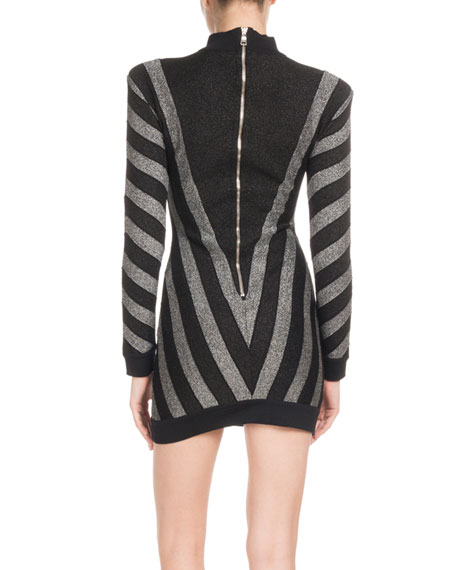 High-Neck Long-Sleeve Metallic Chevron Knit Cocktail Dress
